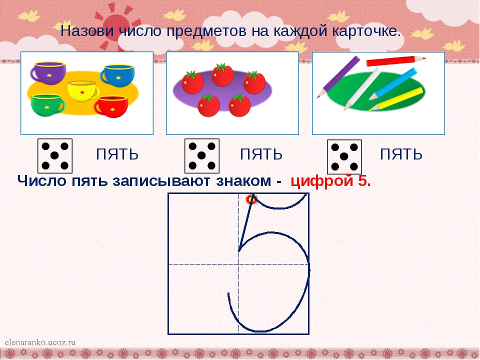Назови число предметов на каждой карточке. ПЯТЬ ПЯТЬ ПЯТЬ Число пять записыв...