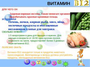 ВИТАМИН B12 ДЛЯ ЧЕГО ОН ИСТОЧНИКИ СКОЛЬКО НУЖНО ПОЛЕЗНО ЗНАТЬ Здоровая нервна