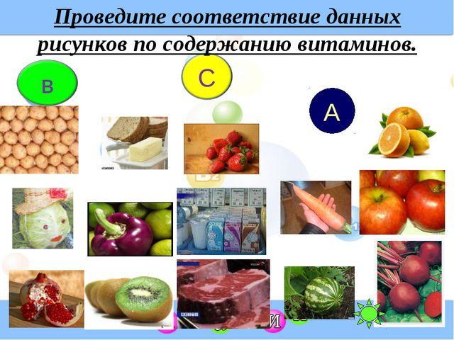 Проведите соответствие данных рисунков по содержанию витаминов. А