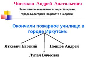 Чистяков Андрей Анатольевич Заместитель начальника пожарной охраны города Бел