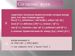 Согласные звуки [∫] существует несколько буквосочетаний, которые всегда дают