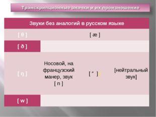 Звуки без аналогий в русском языке [θ]  [æ]  [ð]    [ŋ] Носовой,
