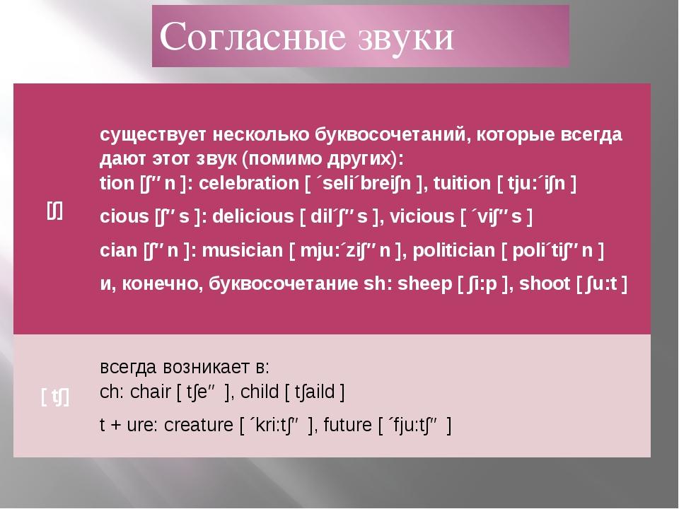 Согласные звуки [∫] существует несколько буквосочетаний, которые всегда дают...