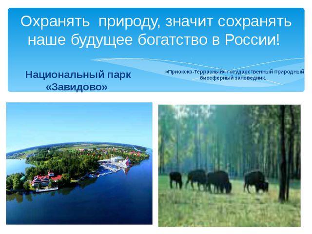 Охранять природу, значит сохранять наше будущее богатство в России! Националь...