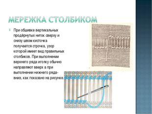 При обшивке вертикальных продёрнутых ниток сверху и снизу швом кисточка получ