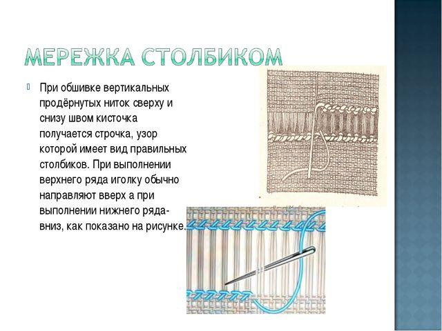 При обшивке вертикальных продёрнутых ниток сверху и снизу швом кисточка получ...