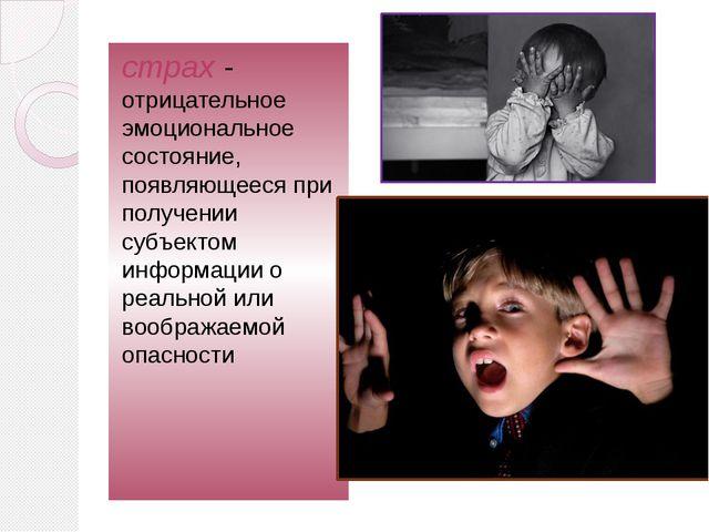 страх- отрицательное эмоциональное состояние, появляющееся при получении суб...
