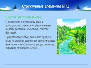 Структурные элементы БГЦ Биотоп (местообитание) Однородное по условиям жизни