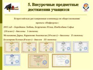 5. Внеурочные предметные достижения учащихся Всероссийская дистанционная оли