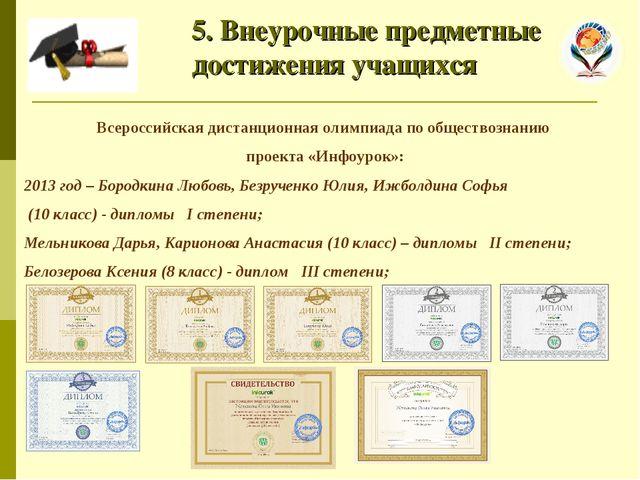 5. Внеурочные предметные достижения учащихся Всероссийская дистанционная оли...