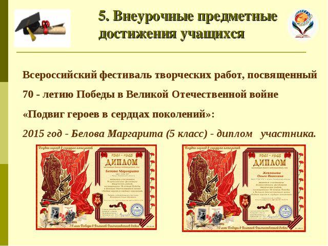 5. Внеурочные предметные достижения учащихся Всероссийский фестиваль творчес...
