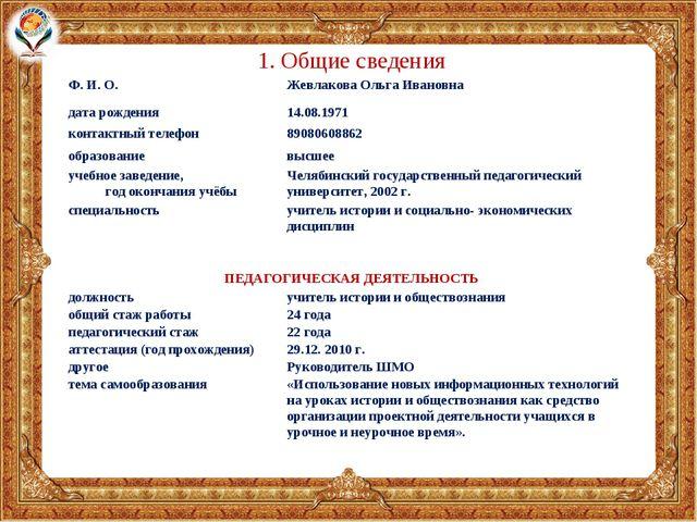 1. Общие сведения Ф. И. О.Жевлакова Ольга Ивановна дата рождения14.08.1971...
