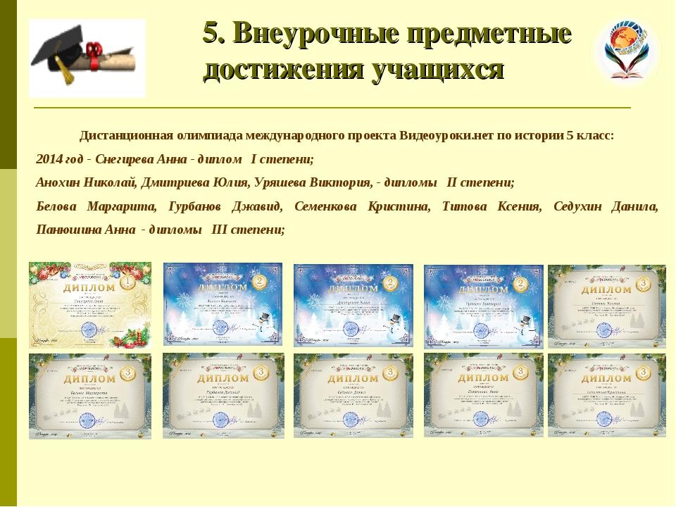 5. Внеурочные предметные достижения учащихся Дистанционная олимпиада междуна...