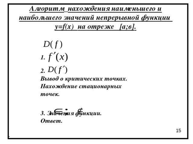 Алгоритм нахождения наименьшего и наибольшего значений непрерывной функции y=...