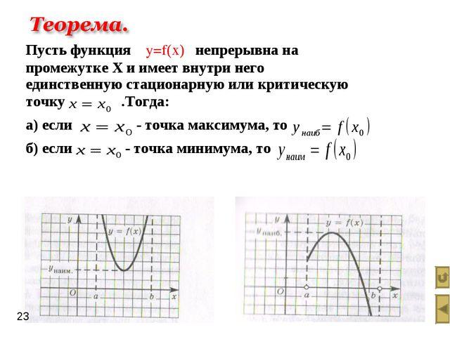 Пусть функция y=f(х) непрерывна на промежутке Х и имеет внутри него единствен...