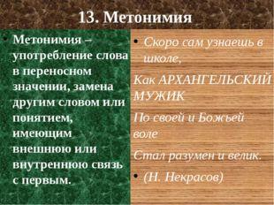 13. Метонимия Метонимия – употребление слова в переносном значении, замена др