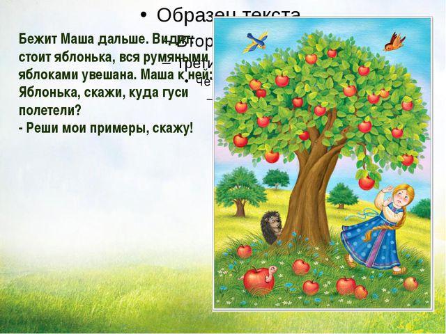 Бежит Маша дальше. Видит: стоит яблонька, вся румяными яблоками увешана. Маш...