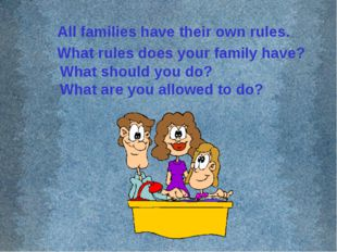 All families have their own rules. What rules does your family have? What sho