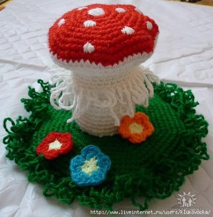Вязание крючком грибы цветы - Master class
