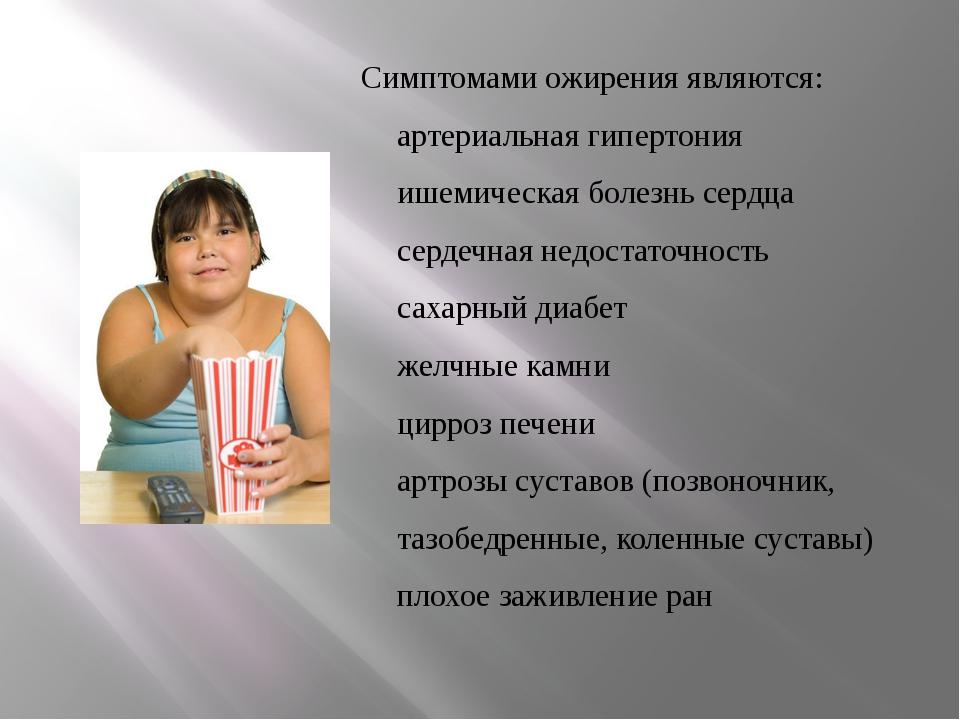Симптомами ожирения являются: артериальная гипертония ишемическая болезнь сер...