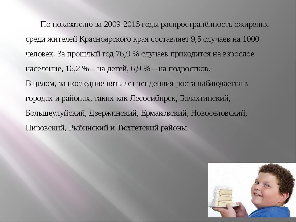 По показателю за 2009-2015 годы распространённость ожирения среди жителей Кра...