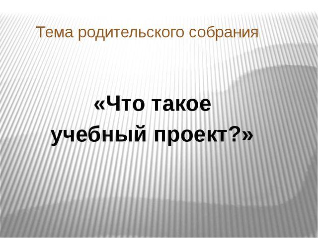 Тема родительского собрания «Что такое учебный проект?»