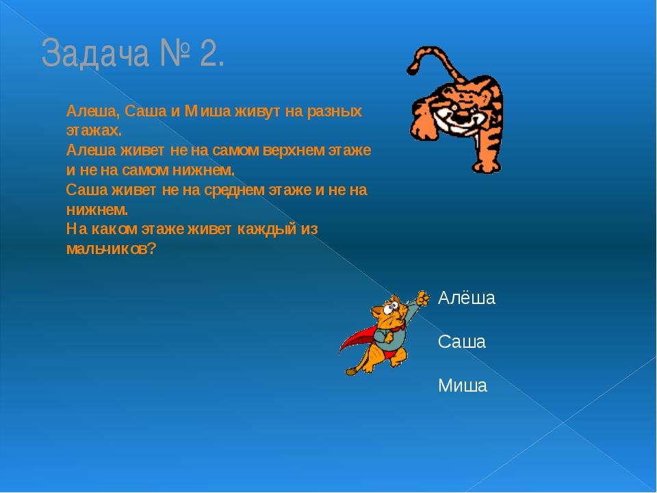 Задача № 2. Алеша, Саша и Миша живут на разных этажах. Алеша живет не на само...