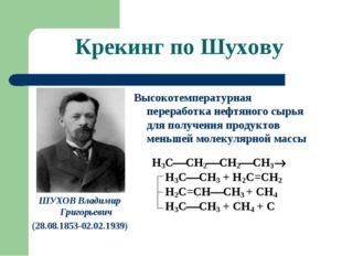 Крекинг по Шухову ШУХОВ Владимир Григорьевич (28.08.1853-02.02.1939) Высокоте