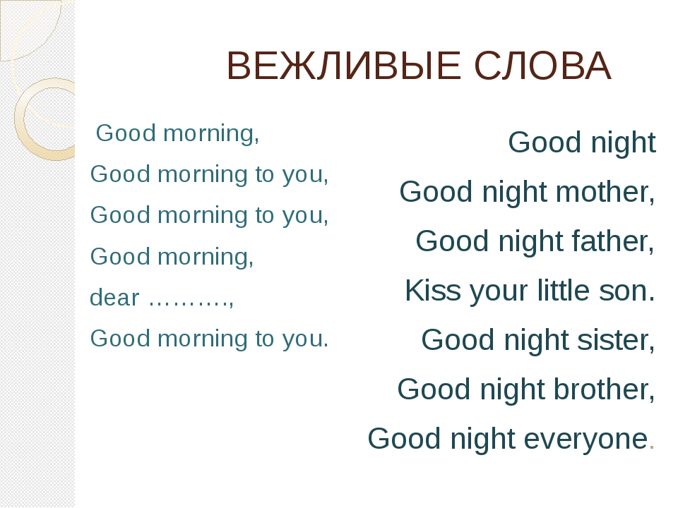 ВЕЖЛИВЫЕ СЛОВА  Good morning, Good morning to you, Good morning to you, Good...