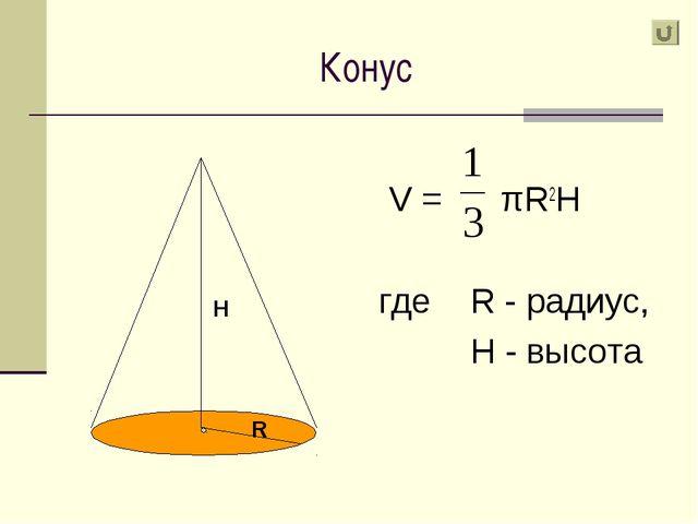 Конус V = πR2H где R - радиус, H - высота Н R