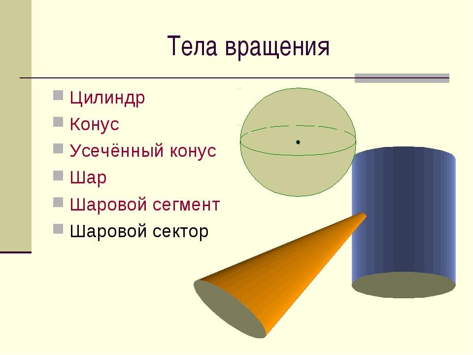 Тела вращения Цилиндр Конус Усечённый конус Шар Шаровой сегмент Шаровой сектор