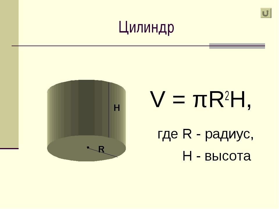 Цилиндр V = πR2H, где R - радиус, H - высота R H