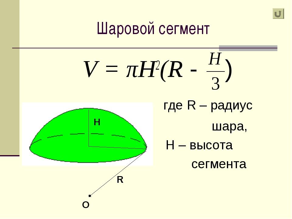 Шаровой сегмент V = πH2(R - ) где R – радиус шара, H – высота сегмента R H O