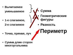 Вычитаемое уменьшаемое 1-е слагаемое, 2-е слагаемое Точка, прямая, луч Сумма