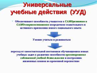 Универсальные учебные действия (УУД) Обеспечивают способность учащегося к САМ