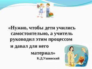«Нужно, чтобы дети учились самостоятельно, а учитель руководил этим процессо