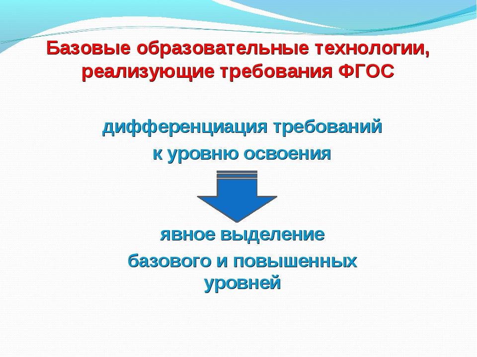 Базовые образовательные технологии, реализующие требования ФГОС дифференциац...