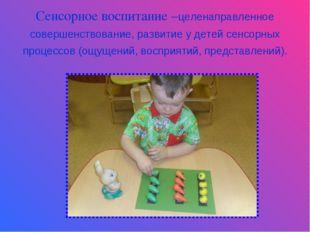 Сенсорное воспитание –целенаправленное совершенствование, развитие у детей се