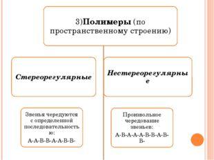 3)Полимеры (по пространственному строению) Стереорегулярные Звенья чередуются