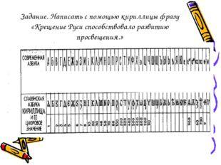 Задание. Написать с помощью кириллицы фразу «Крещение Руси способствовало раз