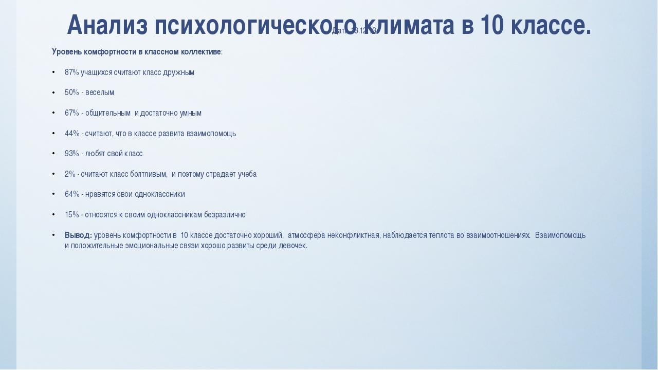 Анализ психологического климата в 10 классе. Дата 13.12.13 Уровень комфортнос...