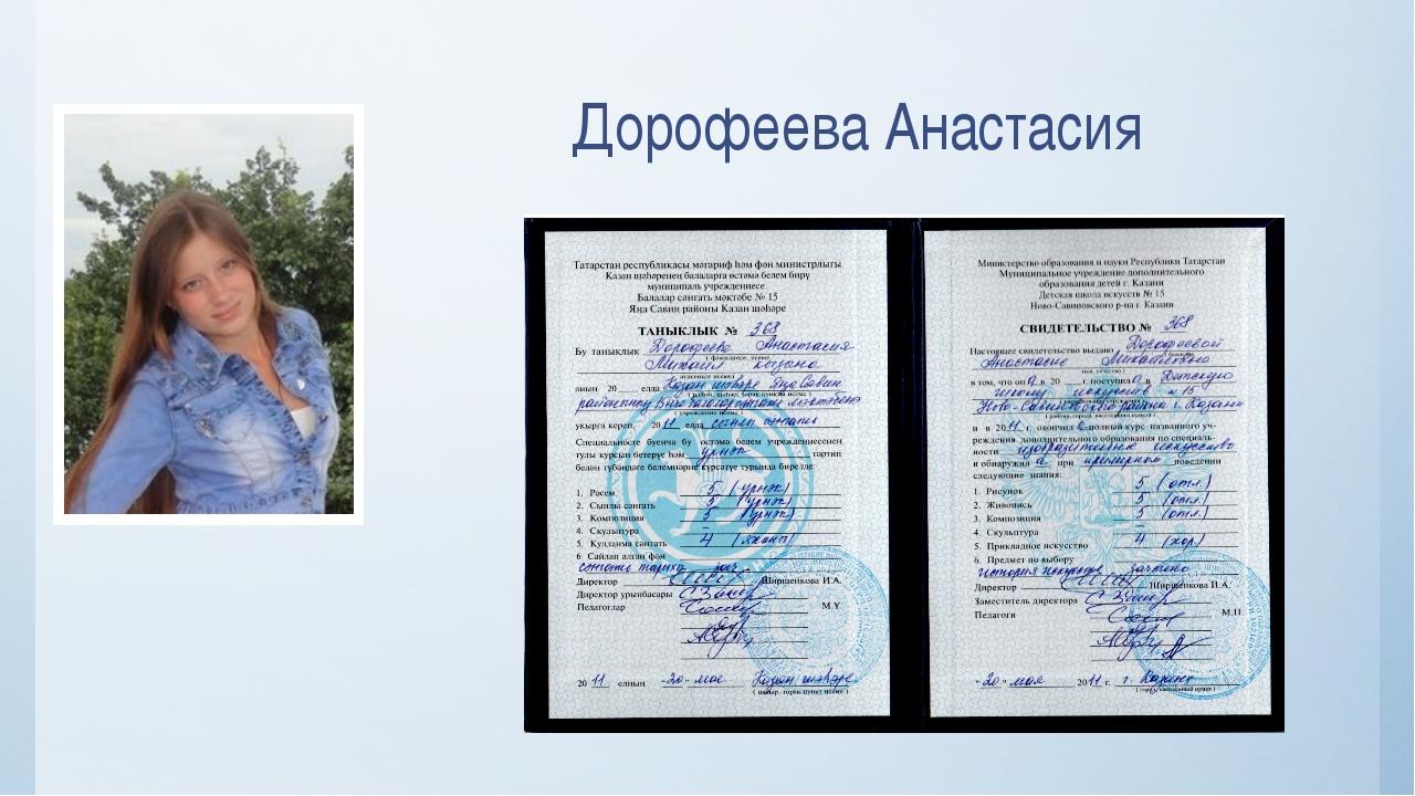 Дорофеева Анастасия