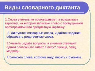 Виды словарного диктанта 1.Слова учитель не проговаривает, а показывает карт