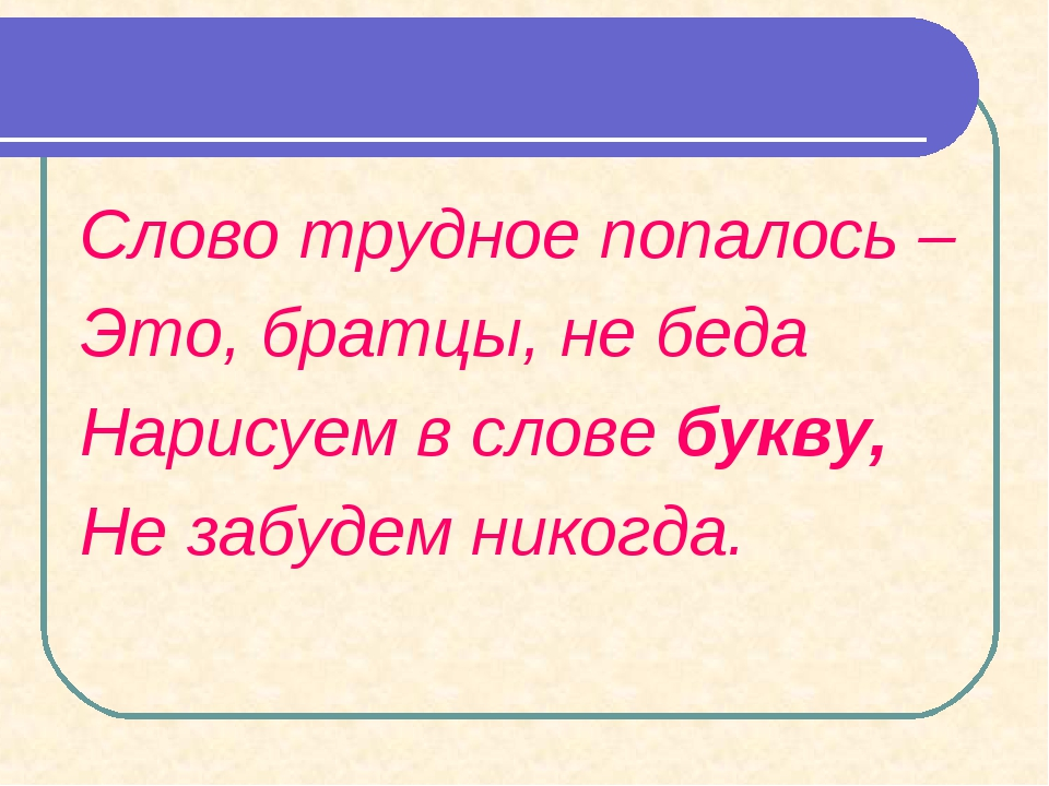 Слово трудное попалось – Это, братцы, не беда Нарисуем в слове букву, Не забу...