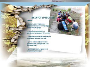 ЭКОЛОГИЧЕСКОЕ Задачи: - воспитывать бережное , разумное отношение к природе и