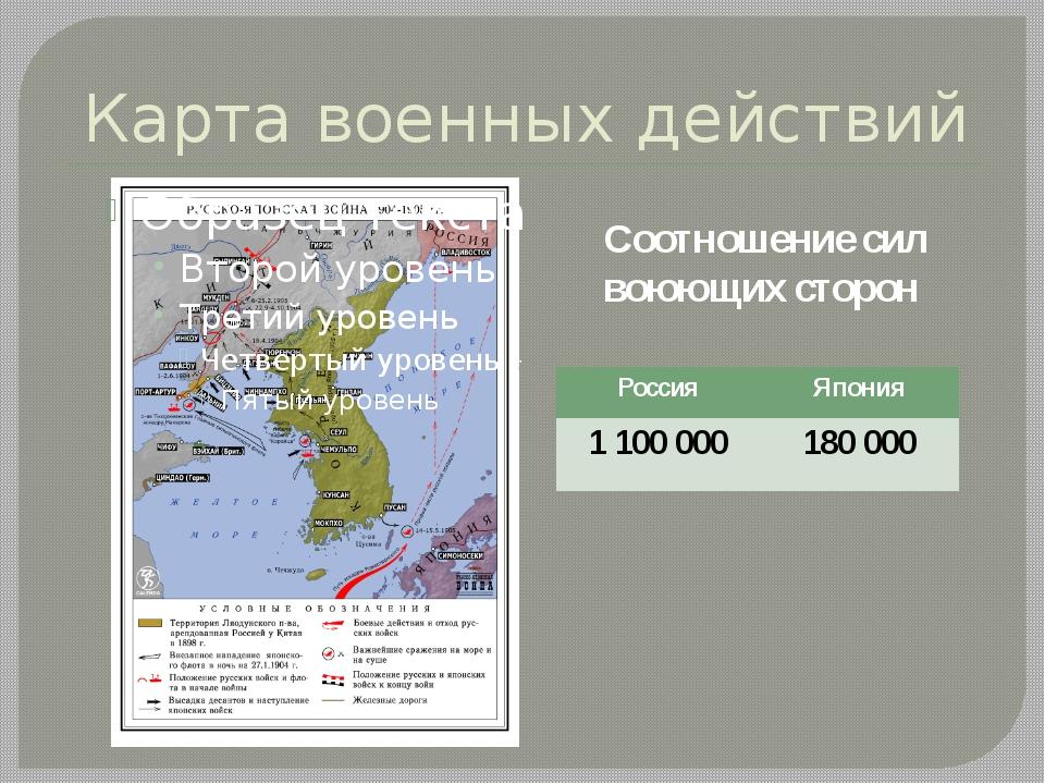 Карта военных действий Соотношение сил воюющих сторон Россия Япония 1 100000...