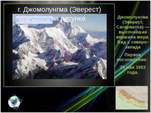 г. Джомолунгма (Эверест) Джомолунгма (Эверест, Сагарматха) — высочайшая верши