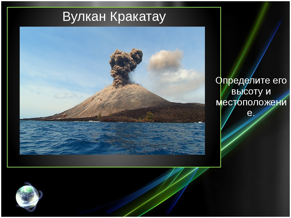 Вулкан Кракатау Определите его высоту и местоположение.