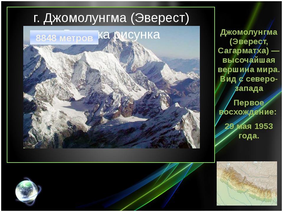 г. Джомолунгма (Эверест) Джомолунгма (Эверест, Сагарматха) — высочайшая верши...