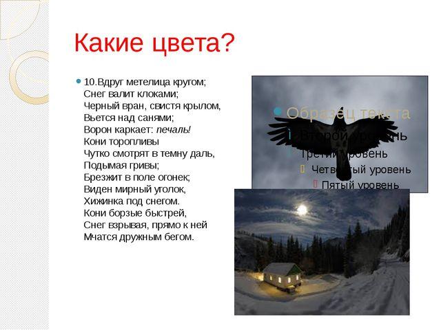 Какие цвета? 10.Вдруг метелица кругом; Снег валит клоками; Черный вран, свис...